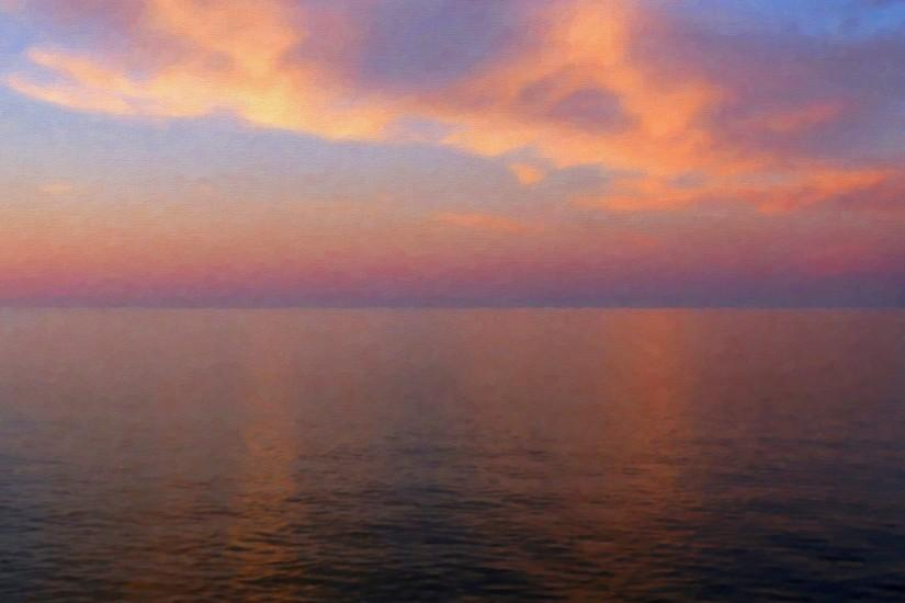 836 2: Calm Sunset Skyview Ocean Pure iPad Air wallpaper