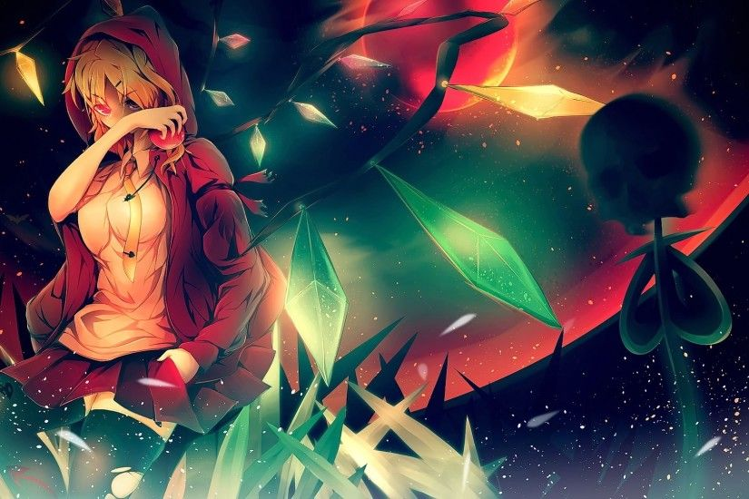 #anime, #blonde, #looking at viewer, #Flandre Scarlet, #Touhou, #short  hair, #red eyes, #skull, #anime girls, wallpaper