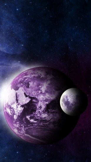 Preview wallpaper earth, moon, space, galaxy 2160x3840