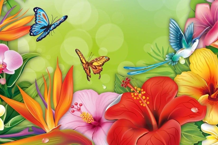 Spring Flowers and Butterflies Wallpapers HD / Desktop and Mobile .