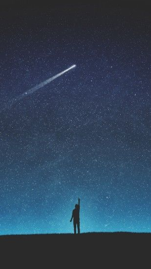 1080x1920 Wallpaper silhouette, starry sky, shooting star, night, art