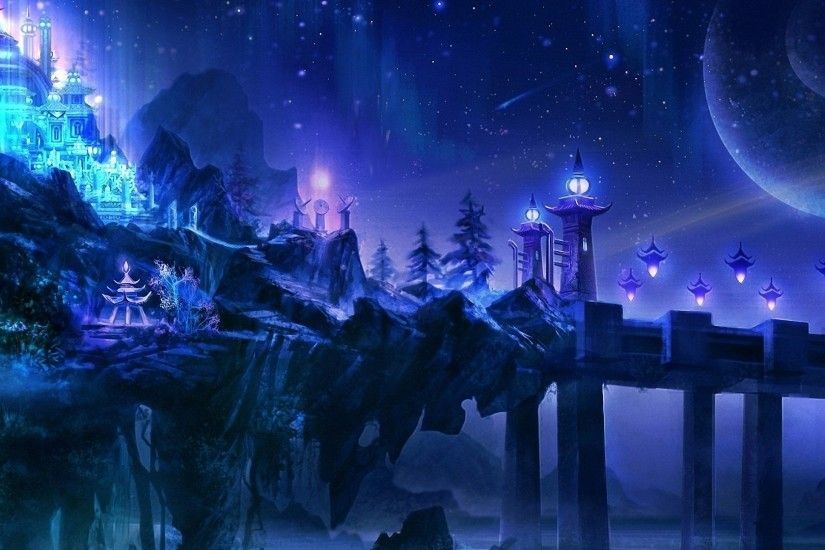 cool fantasy magic castle night HD wallpapers