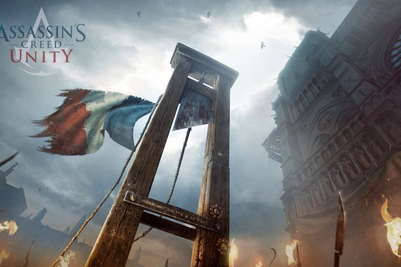Guillotine in front of the Cathedral of Notre-Dame de Paris, Assassin's  Creed Unity