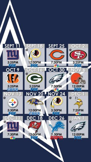 Dallas Cowboys Schedule Wallpaper for iPhone ...