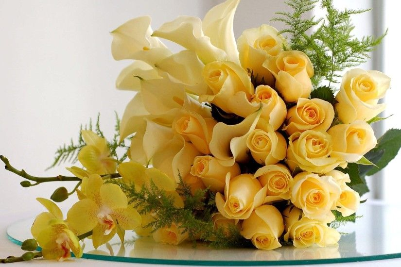 Bunch of Yellow Roses Wallpaper Background