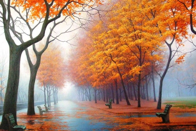 Wallpaper autumn, park, avenue, benches, trees, leaf fall, fog,
