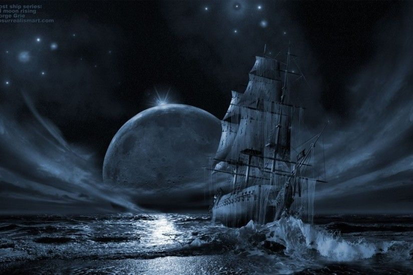 1920x1200 Free Computer Desktop Wallpaper:Ghost Ship Series: Full Moon  Rising, Mixed Media