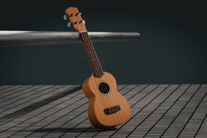 1920x1080 Wallpaper guitar, 3d, space, musical instrument