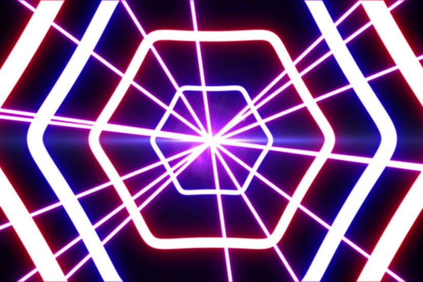 Laser abstracts futuristic Background for your text or logo, Neon lights  vintage Hexa tunnel loop. A Science Fiction background.