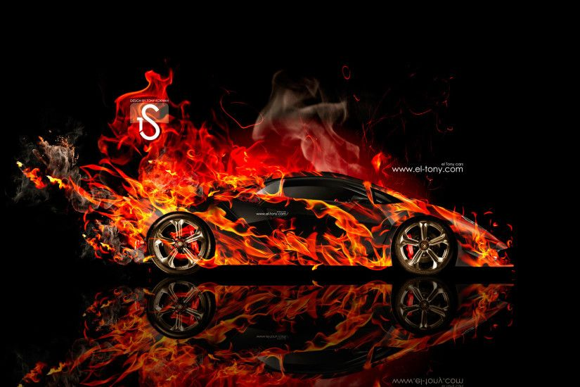 Elegant Lamborghini Sesto Elemento Fire Abstract Car 2014