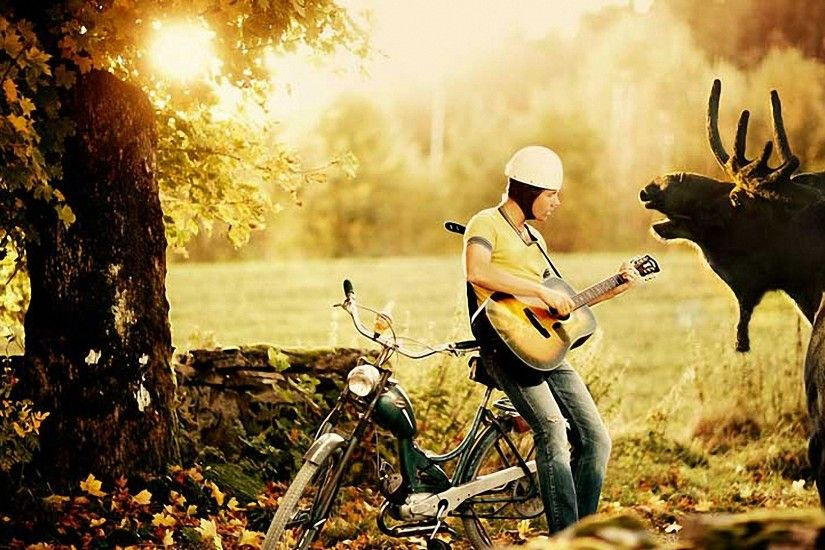 Preview wallpaper bjorn rosenstrom, sunset, guitar, nature, elk 1920x1080