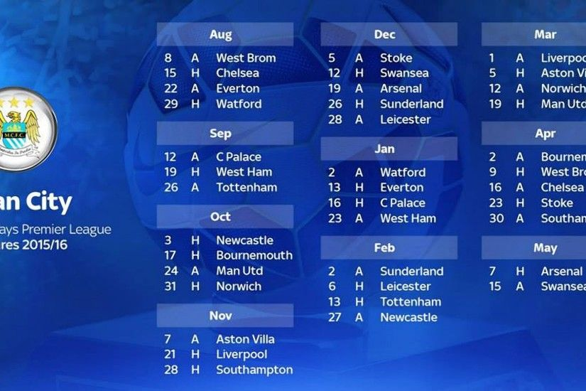 Manchester City FC Barclays Premier League 2015-2016 Fixtures Wallpaper