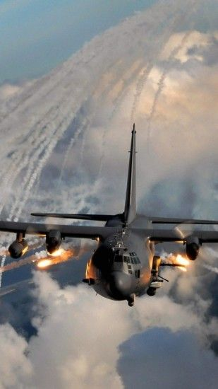 ... 1080x1920 Aircraft army military flares ac 130 wallpaper (74638)