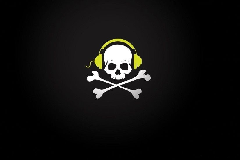 Pirate Skull Music Headphones Wire Bones Wallpaper 1920x1080 px .