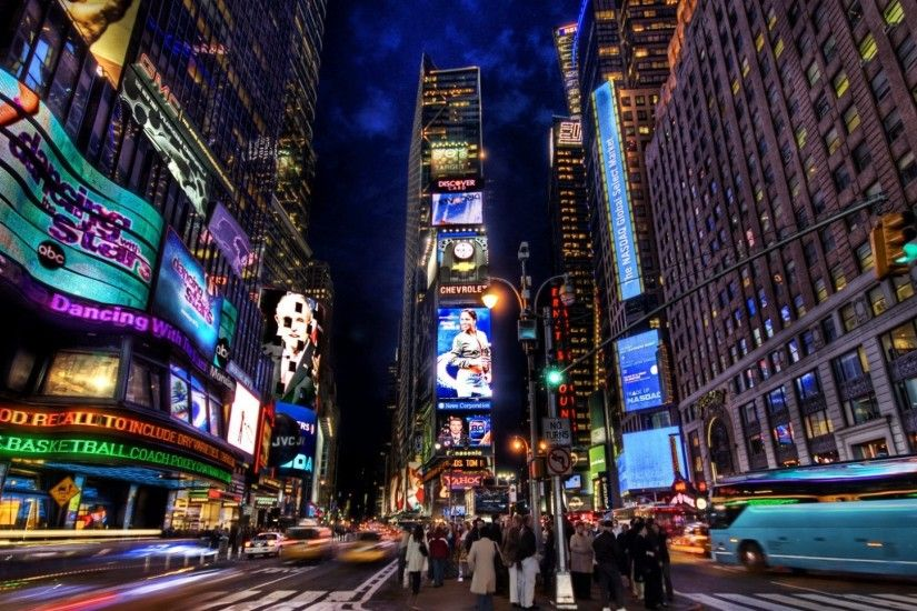 Preview wallpaper new york, times square, street, night, home, people,