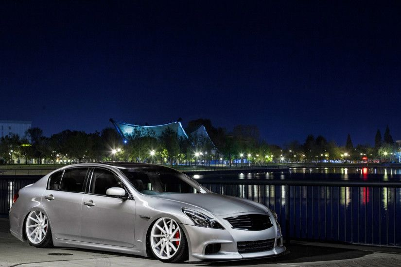 ... Front side view of a silver Vossen Infiniti G37 wallpaper 1920x1080 ...