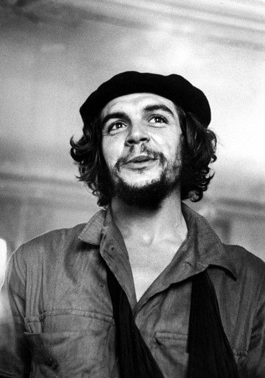 Cuban rebel Ernesto Che Guevara w his left arm in a sling