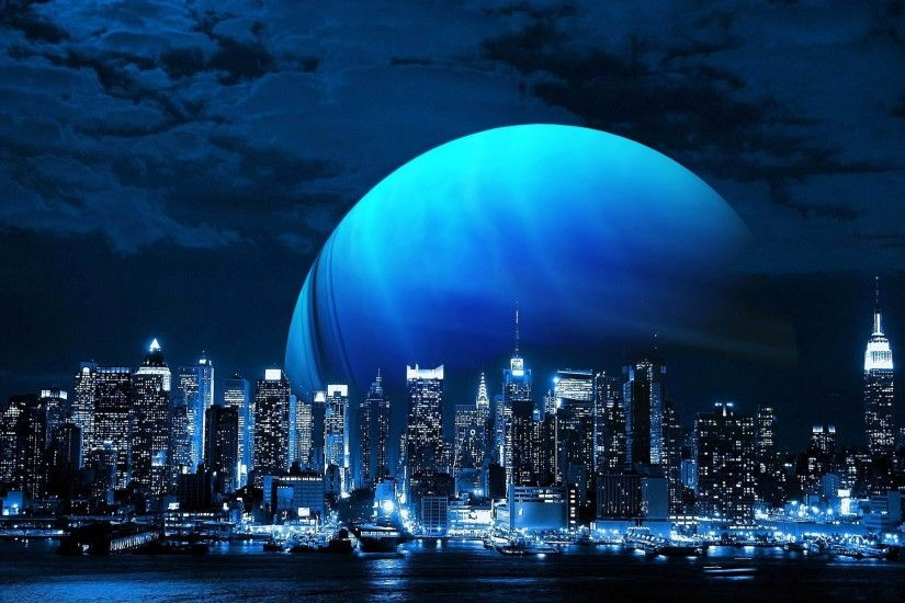 Blue moon above the city wallpaper