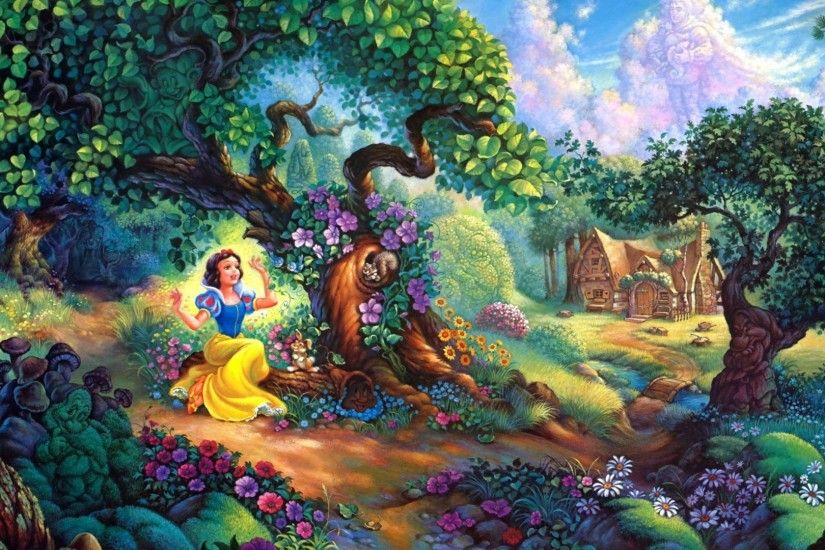 Preview wallpaper snow white, fairy forest, trees, house, fairy tale  1920x1080