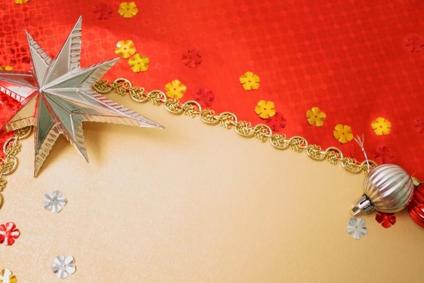 Preview wallpaper gold, red background, new year, toys 1920x1080