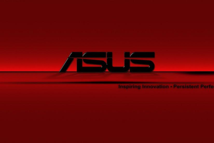 ASUS logo on a red background