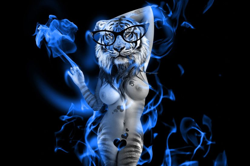 ... Fantasy-Sexy-Tiger-Blue-Fire-Girl-2014-HD- ...