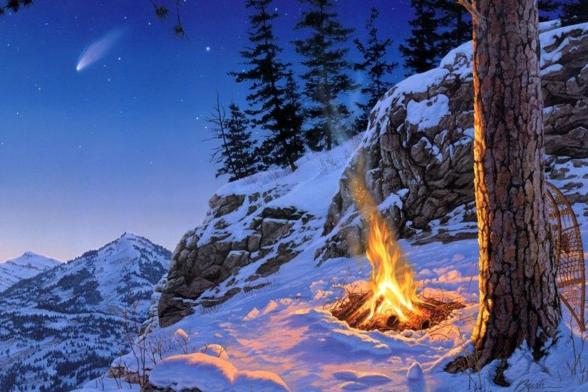 flames nature, artistic, paintings, scenic, landscapes,darrelbush, forests,  trees, winter, landscapes, snow, colourful, fire,mobile, wallpaper, ...
