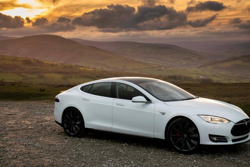 Preview wallpaper tesla, s, p85, white, side view 3840x2160