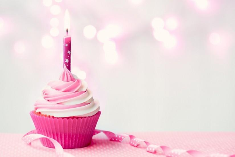 happy birthday cupcake candle pink birthday candle cake cream