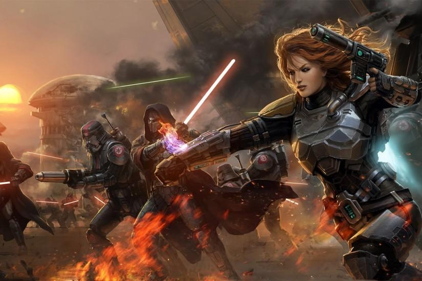 Armor Artwork Battles Bounty Hunter Fire Futuristic Lightsabers Mandalorian  Sith Star Wars The Old Republic Weapons Wallpaper