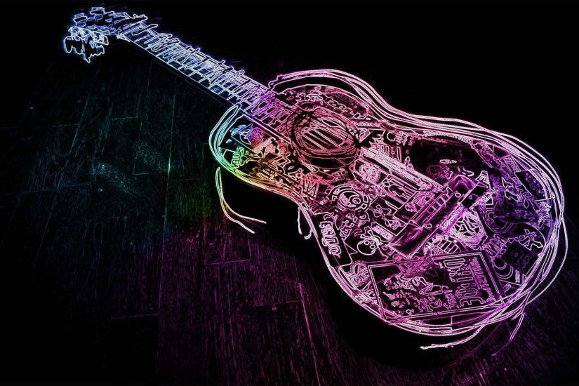 Glowing Neon Guitar Outline | HD Dance and Music Wallpaper Free Download ...