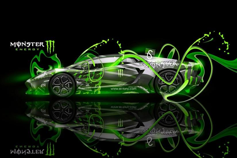 Monster Energy Lamborghini Aventador Open Doors Monster Energy FullHD  Wallpaper