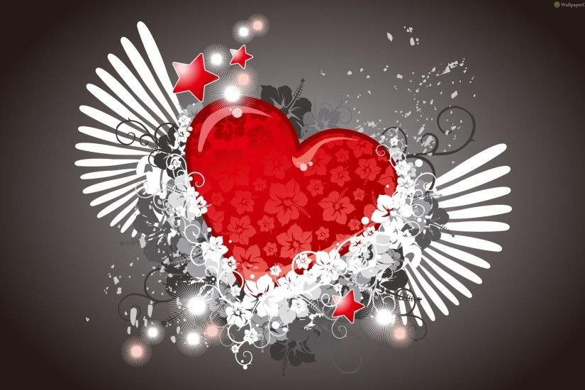 Cool Hearts With Wings - wallpaper.