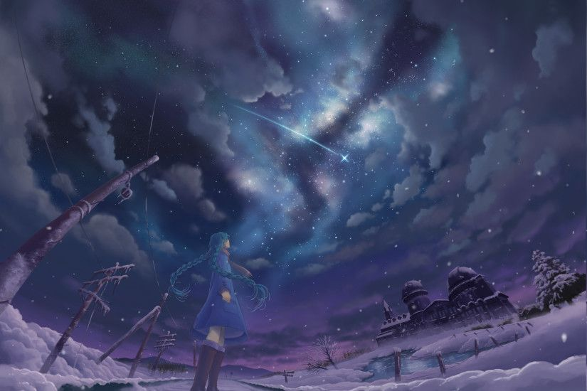 stars, Night, Snow, Shooting Stars, Winter, Anime Girls Wallpapers HD /  Desktop and Mobile Backgrounds