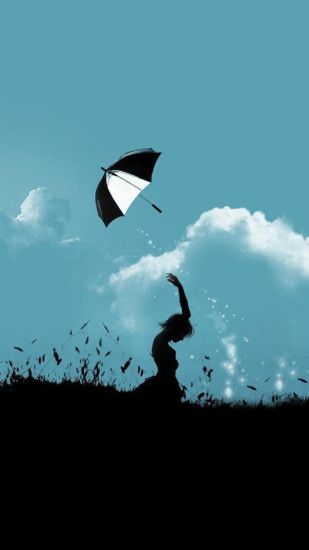 ... Hill Umbrella Throw At Cloudy Sky Aesthetic Art iPhone 8 wallpaper ...