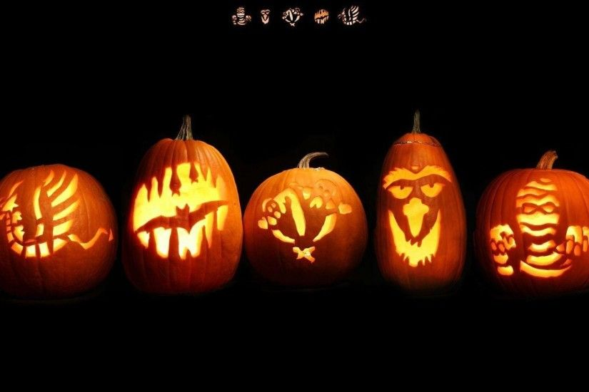 2048x1152 Wallpaper halloween, holiday, pumpkin, faces, lights, signs,  black background