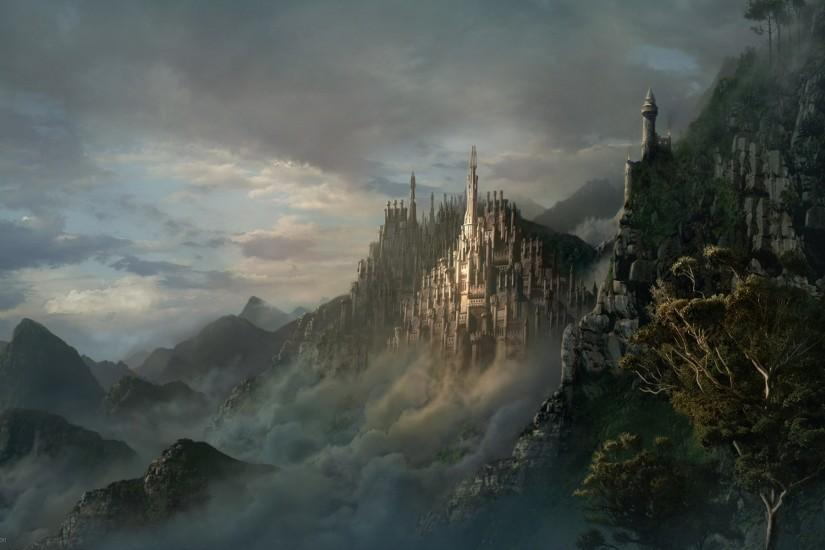 Fantasy Other Mountain Castle Art Wallpapers.
