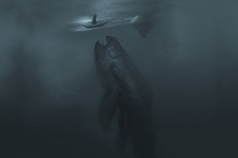 Fantasy - Sea Monster Whale Ship Scary Fantasy Wallpaper