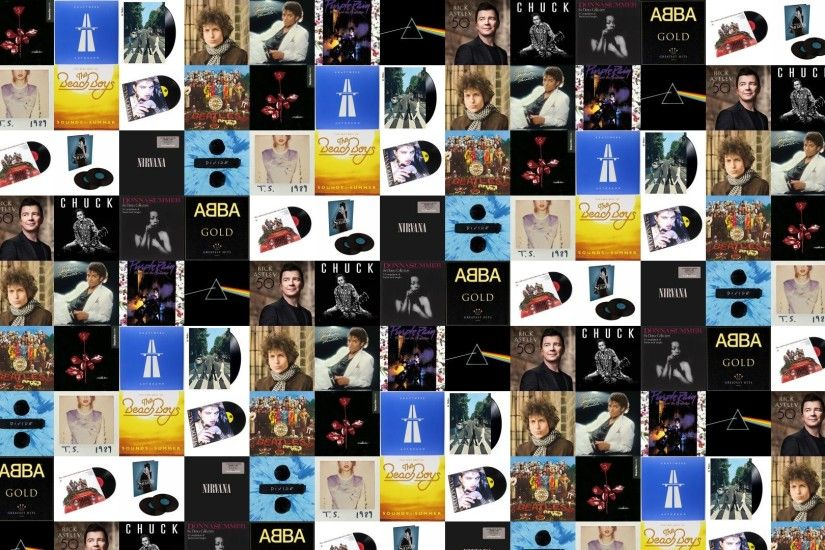 Download this free wallpaper with images of The Beatles – Sgt. Pepper,  Depeche Mode – Violator, Kraftwerk – Autobahn, The Beatles – Abbey Road, ...