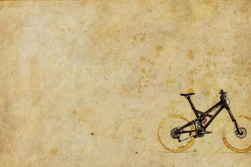 Two Cups Coffee Stains Mountain Bike Art HD Wallpaper - ZoomWalls