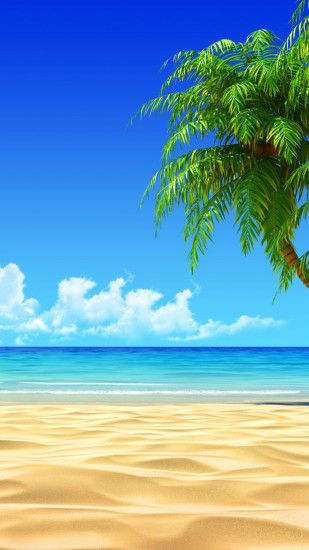Tropical Beach Coconut Tree Illustration iPhone 6 Plus HD Wallpaper