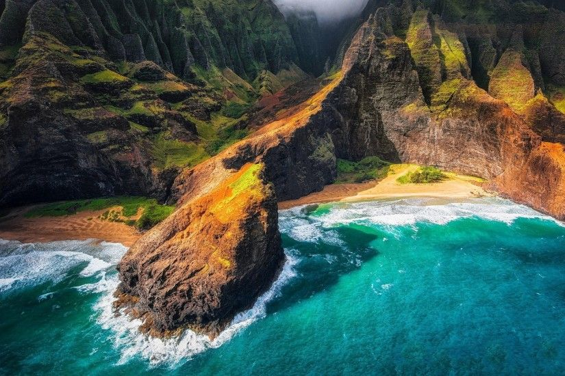 landscape, Nature, Kauai, Hawaii, Beach, Cliff, Sea, Mountain, Coast,  Aerial View Wallpapers HD / Desktop and Mobile Backgrounds