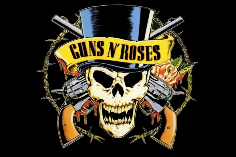 Preview wallpaper guns n roses, revolvers, skull, cylinder, rose 3840x2160