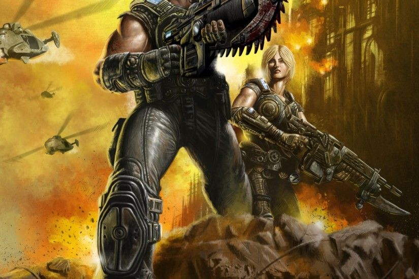 Preview wallpaper gears of war, marcus fenix, anya stroud, soldiers,  weapons 2048x2048