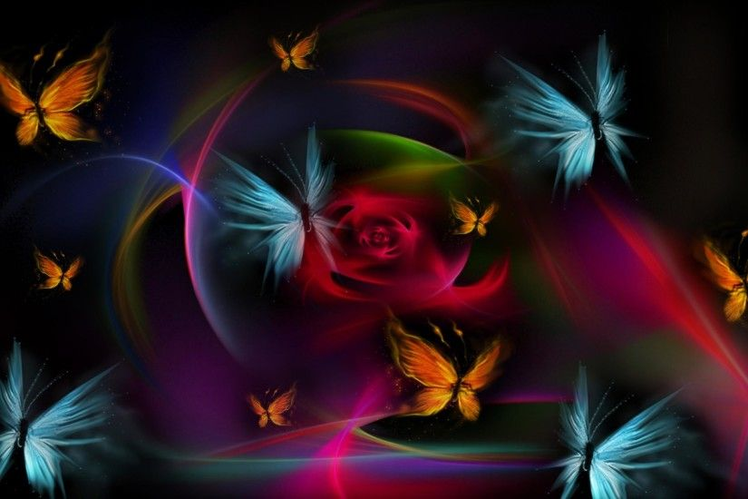 Download Wallpaper 3840x2400 Butterfly, Colorful, Blue, Drawing .