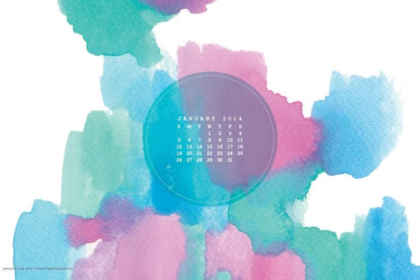 January 2014 watercolor desktop wallpaper (download here)