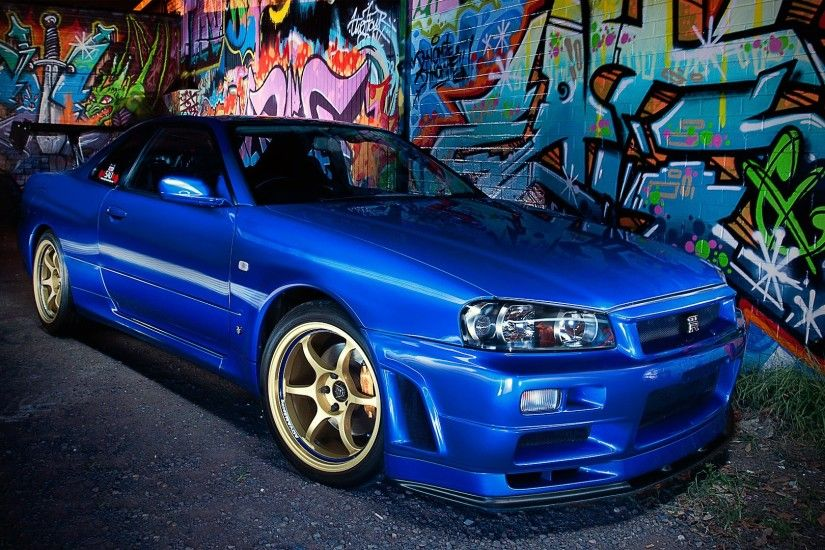 wallpaper blue · cars · japanese · graffiti · supercars · tuning · Nissan  Skyline GTR R34