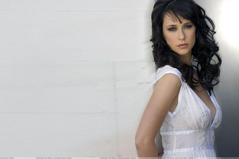 "You are viewing wallpaper titled ""Jennifer Love Hewitt Standing With Wall  In White Dress"" ..."