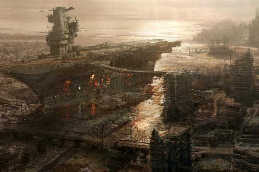 Post-apocalyptic ship-city.