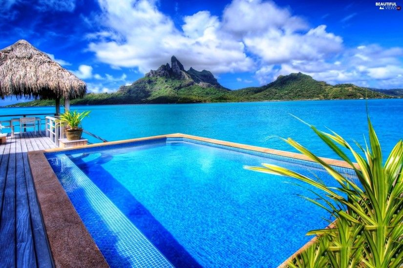 sea, Mountains, Bungalow, Bora Bora, Pool